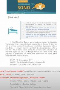 Convite da semana do sono de Maringá